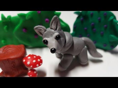 Волк из пластилина, полимерной глины или мастики (Modelling Clay Wolf)