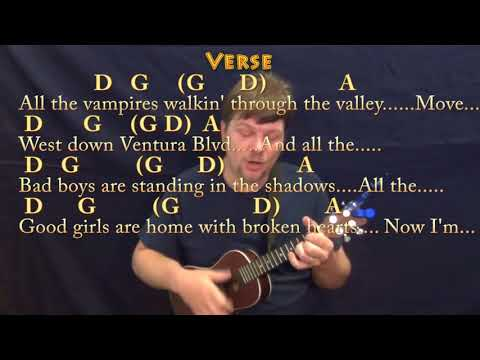 Free Fallin' (Tom Petty) Ukulele Cover Lesson in D with Chords/Lyrics