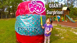 biggest surprise egg ever surprise toys eggs disney frozen mlp spiderman hello kitty powerwheels