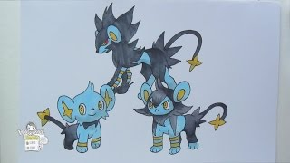Drawing Pokemon: No. 403 Shinx, No. 404 Luxio, No. 405 Luxray