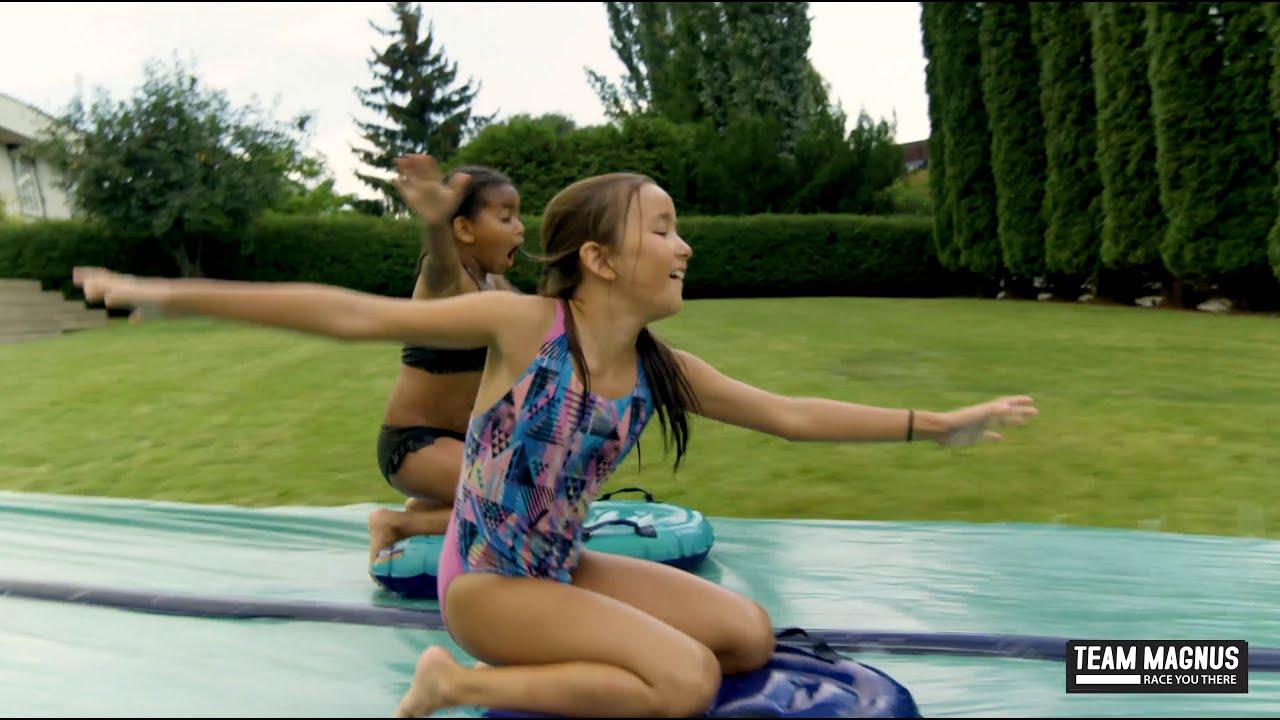 tapis de glisse a eau devilfish gonflable double piste xxl et planches de surf enfant