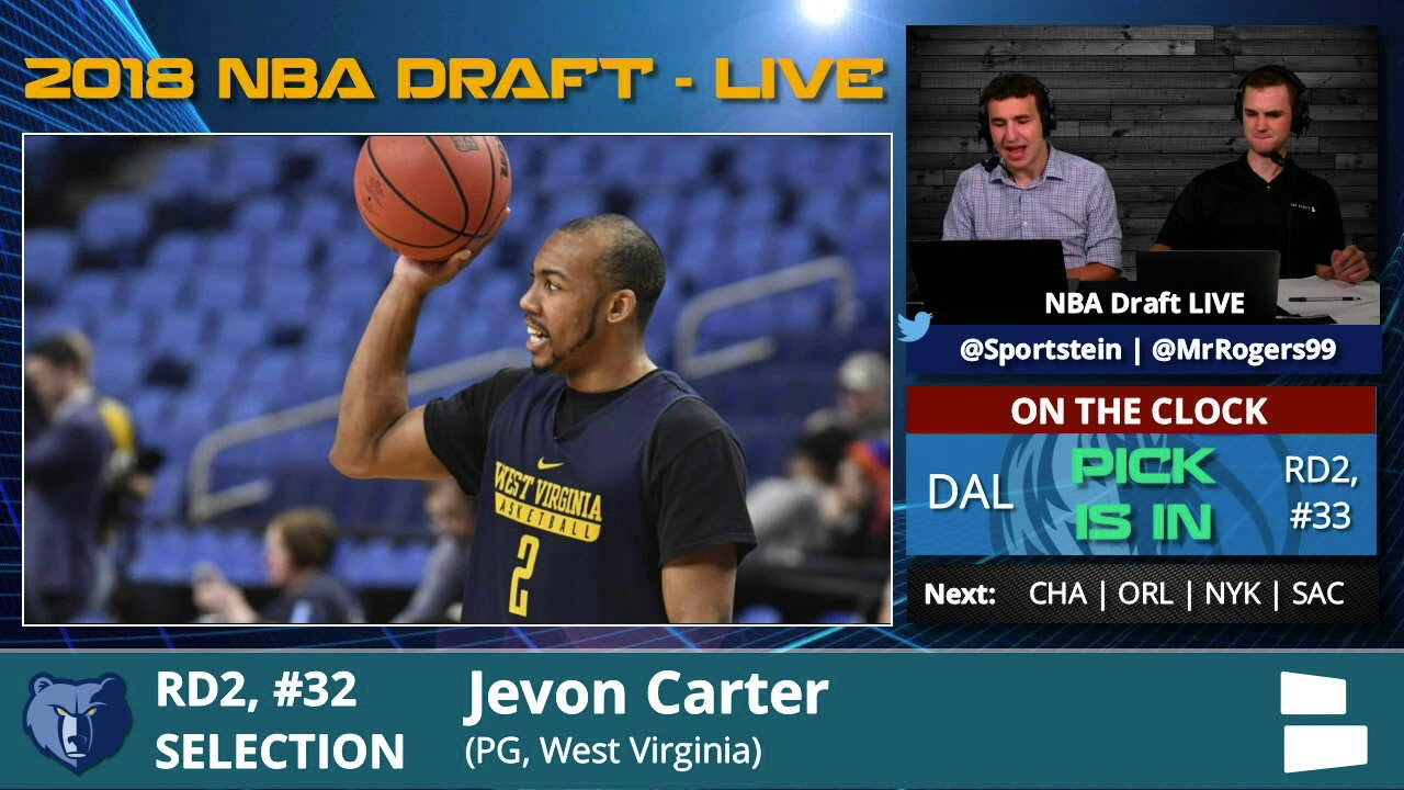 872906cf43e2 Memphis Grizzlies Select Jevon Carter From WVU With Pick  32 In 2nd Round  Of 2018 NBA Draft