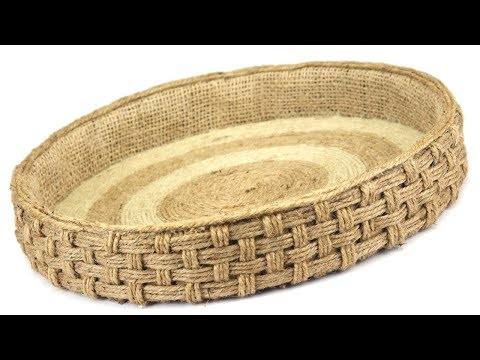 DIY Wicker Serving Tray with Jute Ropes and Cardboard | Jute Rope Tray