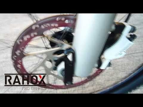 RAHOX mountain bike brake pads extreme testing - rotor glowing