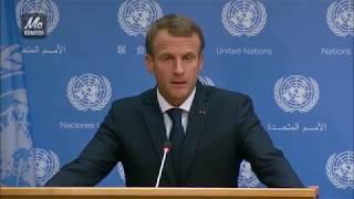 Fransa cumhurbaşkanı Macron protestolar hakkında açıklama yapıyor