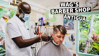 💈 Haircut in Oฑe of a Kind Authentic Old Caribbean Barbershop   Wag's Barbershop Antigua and Barbuda