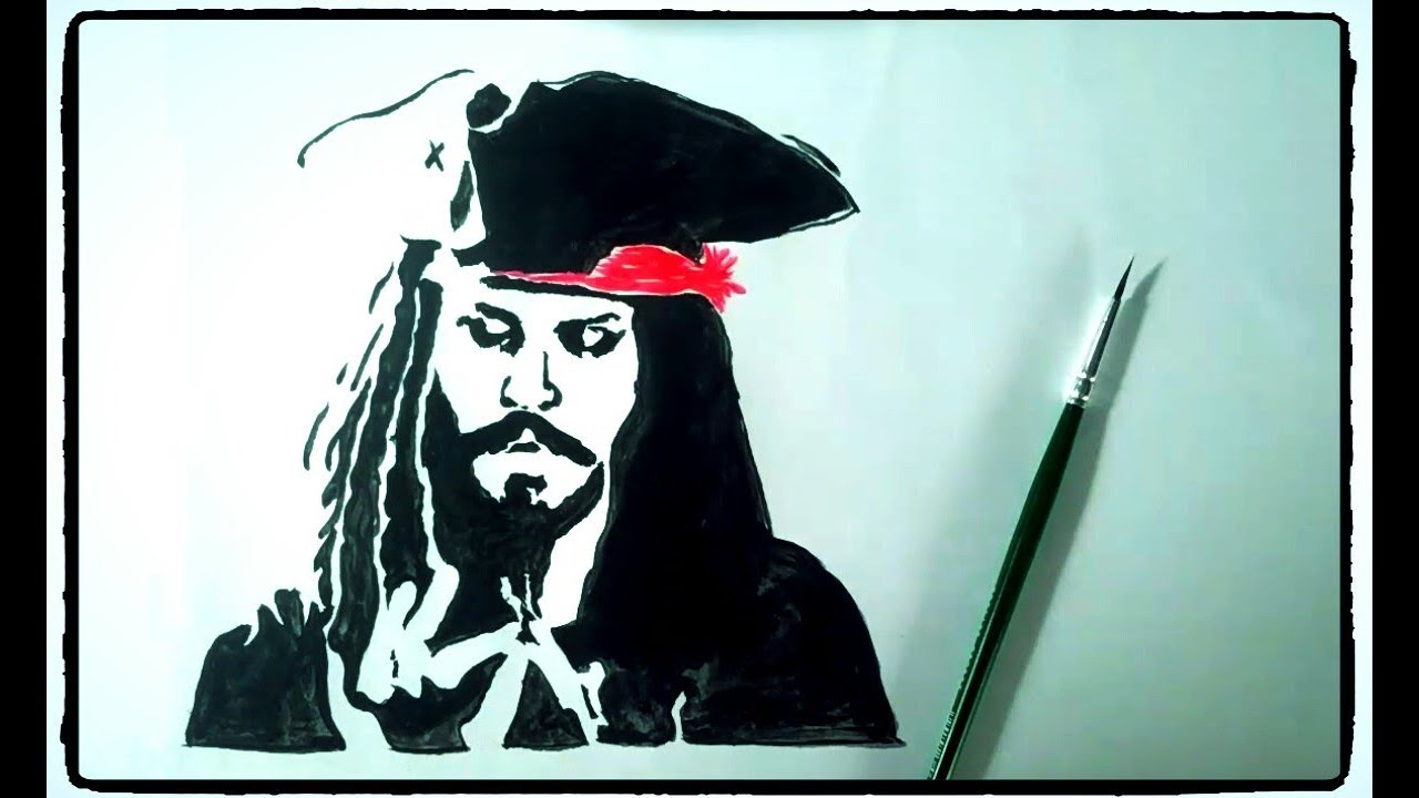How To Draw Captain Jack Sparrow Pirates Of The Caribbean Painting Tutorial Simple Easy Step By Step