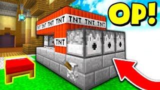 OP TNT CANNON IN MINECRAFT BED WARS! (Minecraft TROLLING)
