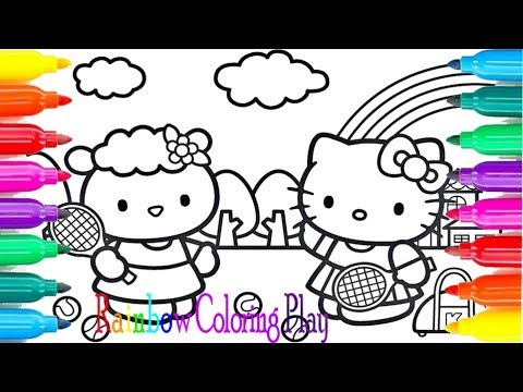Hello Kitty TENNIS Coloring Pages Cartoon For Kids With Colored Markers