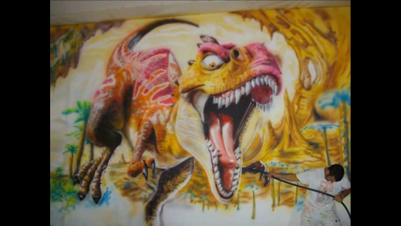 Mural pintado dinosaurio youtube - Murales pintados en la pared ...