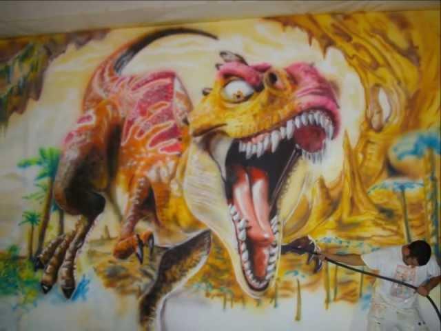 Mural pintado   dinosaurio   youtube