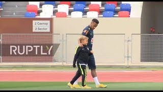 'Who's your daddy!' - Neymar show's son how to kick like a legend
