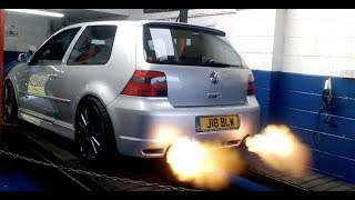 VW Golf r32 mk4 mk IV AWESOME dyno runs [POPS BANGS FLAMES]