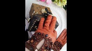 как сделать вышивку на кожаные перчатки.  how to embroider leather gloves