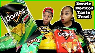 FIRST TIME TRYING MOUNTAIN DEW DORITOS | EXOTIC DORITOS TASTE TEST!