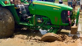 John Deere Tractor Front wheel stuck in mud and Pulling our New  ACE Tractor - Come To Village