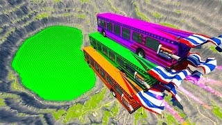 BeamNG drive - School Bus Jumps & Falls Into Green Slime Pool #2