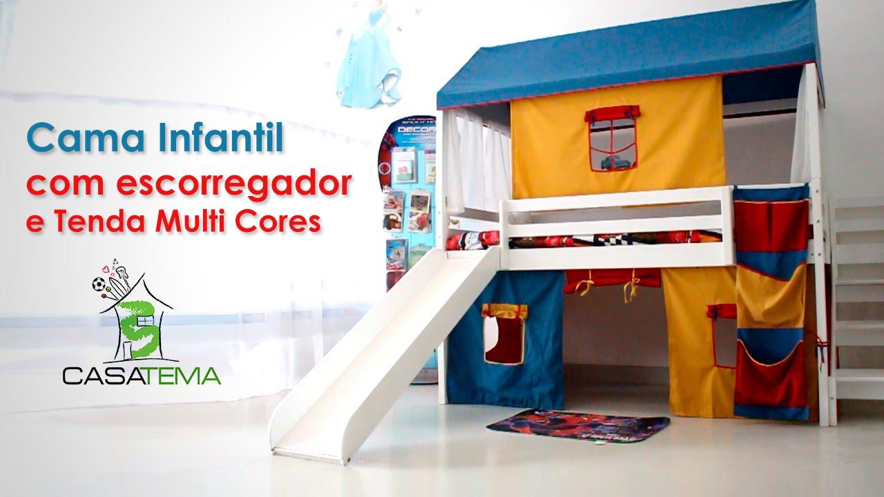 Cama com escorregador infantil e telhadinho com janela - Doseles para camas infantiles ...