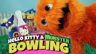 Hello Kitty Bowling Set Toy Review & Monster Bowling Set for Kids // Fuzzy Puppet