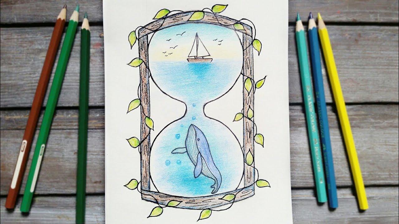 رسم سهل تعليم رسم منظر طبيعي سهل داخل ساعة رملية رسم بحر خطوه