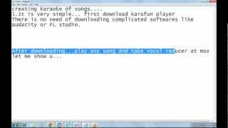Creating karaoke of songs without using complicated softwares for free
