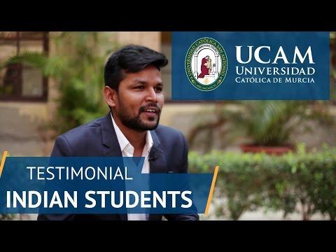 Testimonial Indian Students | UCAM Catholic University of Murcia