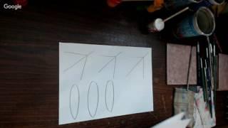 Курс свободно-кистевой росписи. 1 урок. Зимний букет с еловыми ветками.