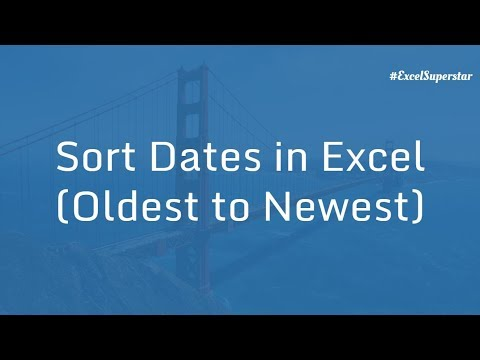 Sort Date - Dates (oldest to newest) in Excel in Hindi