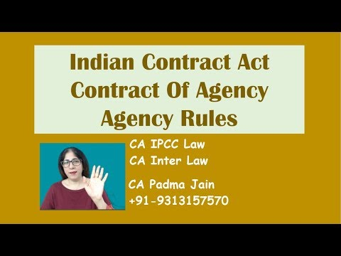 IPCC Law Inter Law Contract of Agency by CA Padma Jain. Agency Rules