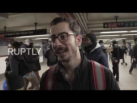 USA: New Yorkers strip off for annual 'No Pants Subway Ride'