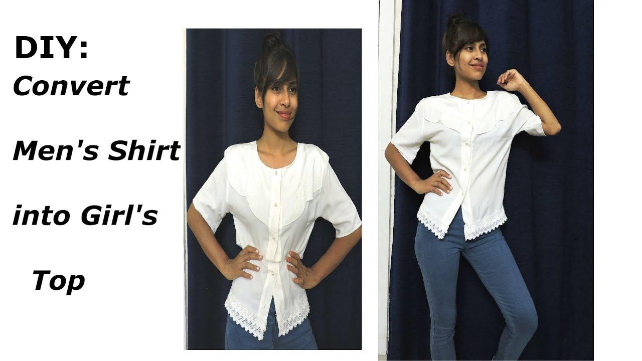 diy how to make man shorts to girl shirt