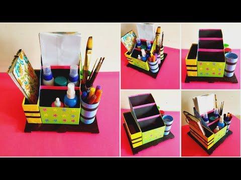 DIY Desk Organizer from empty boxes || Best out of waste || Newspaper craft || Iris Craft Corner 43