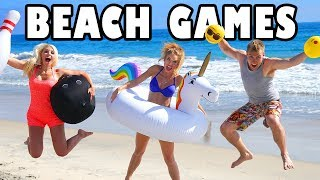 Summer Beach Day Playing with Giant Inflatables for Beach Games Challenge. Totally TV