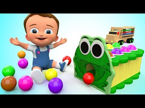 Thumbnail: Learn Colors for Children with Baby Wooden Frog Hammer Toy Set Colors Balls 3D Kids Educational ESL