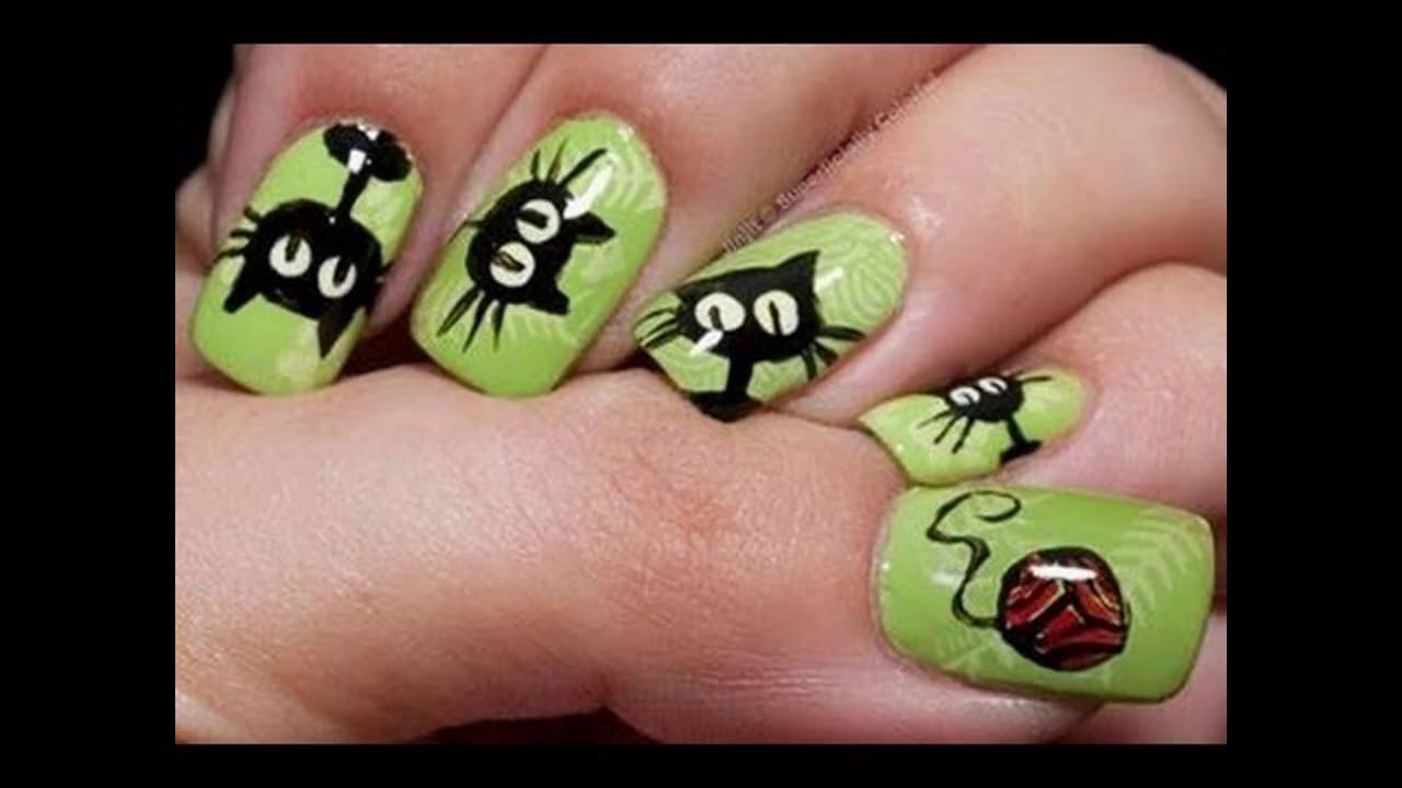 Uñas decoradas con dibujos de caricaturas - YouTube