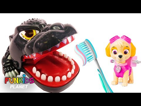 Learn Colors Video For Kids: Paw Patrol Skye is a Dentist Learn to Brush Teeth Godzilla Dinosaur