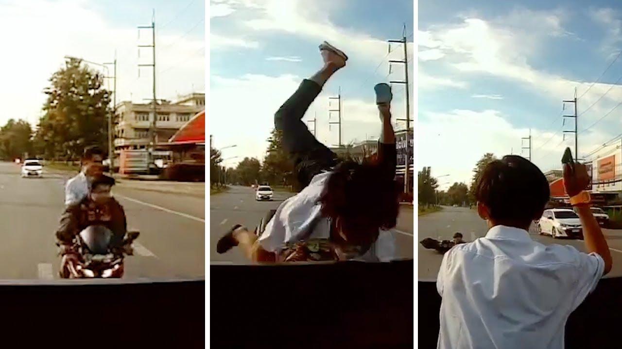 Download Passenger's Epic Front-Flip Save In Pickup Truck Crash