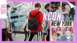 FLYING WITH K-POP IDOLS | KCON New York 2018 & Korean Skincare Demo! meejmuse