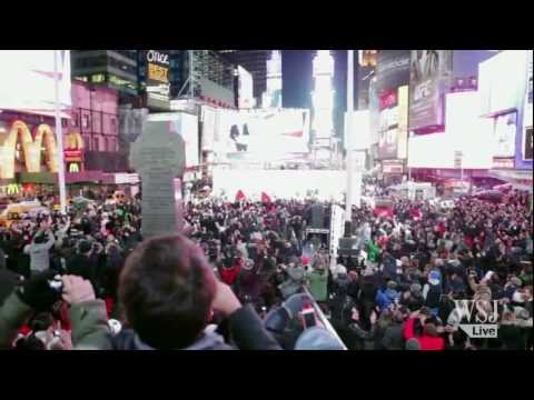 Jubilation in Times Square at Obama's Victory Election 2012