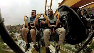 Batman: The Ride front seat on-ride HD POV @60fps Six Flags Fiesta Texas