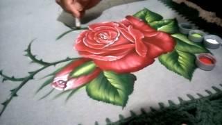 Pintura Rosas em tecido emborrachado Parte 2 de 3
