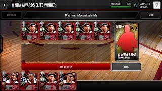 6X New Award Winner Packs!!! 97 OVR pull! Got 99 Master Lebron! NBA Live Mobile