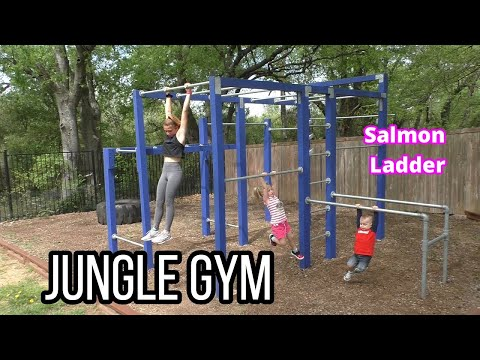 Build Your Own Calisthenics Jungle Gym With Salmon Ladder, Double Monkey Bars And Dip Bar Station