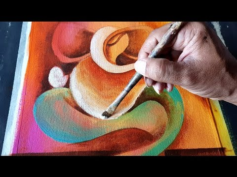 Abstract GANESHA Painting in Acrylics / Demonstration / Om Ganeshay Namah