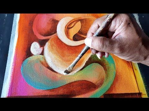 Abstract Ganesha Painting In Acrylics Demonstration Om Ganeshay Namah