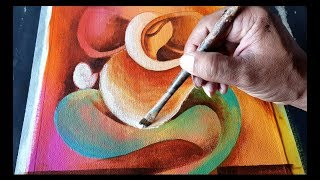 Abstract GANESHA Painting in Acrylics / Demonstration / Om Ganeshay Namah