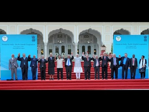 PM Modi receives delegates at the FIPIC Summit 2015 in Jaipur