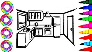 Colouring Drawing A Kitchen