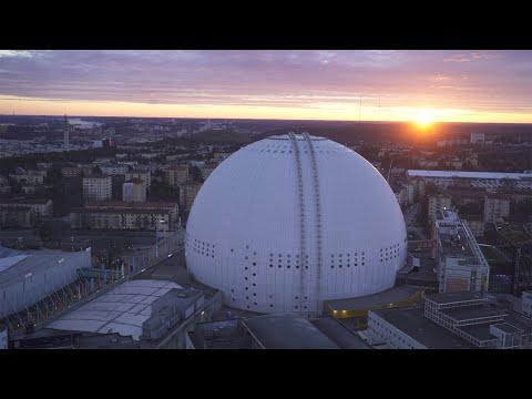 2569. Globen (Stockholm Globe Arena) Drone Stock Footage Video