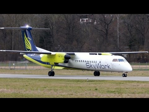 SkyWork Bombardier Dash 8 Q400 Take-Off at Bern Airport